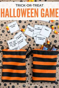 Simple Trick or Treat Halloween Game - perfect activity for class parties, family Halloween parties, or a night at home. Click through for the printable cards and directions halloween games The Easiest Halloween Party Game! - So Festive! Halloween Tags, Fun Halloween Games, Halloween Class Party, Halloween Party Supplies, Halloween Birthday, Family Halloween, Easy Halloween, Halloween Board Game, Halloween 2017