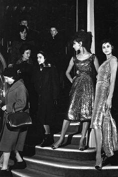 Models in Chanel evening dresses, Paris, 1960 by dovima_is_devine_II, via Flickr