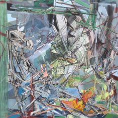 """Iva Gueorguieva, Suitor, 2013, Acrylic, collage, and oil on canvas, 80"""" x 80"""" (image courtesy of the artist)"""