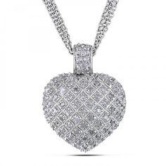 Diamond Accented Puffed Heart Pendant Necklace Sterling Silver 1.00ct-Allurez.com