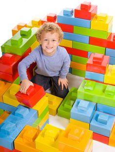 Assemble-your-own cardboard giant Lego bricks.