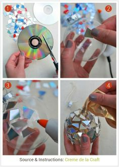 Ornament made from clear globe and cut-up CDs