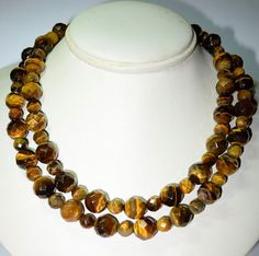 Gorgeous Faceted Tiger Eye Beaded Necklace by VintageClothesNJunk