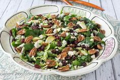 Shaved Brussels Sprouts, Spinach Pecan Salad with Bourbon Balsamic Dressing (Sugar-Free Mom)