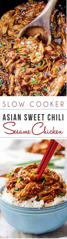 Slow Cooker Asian Sweet Chili Sesame Chicken knocks the socks off of traditional Sesame Chicken with the additional depth of sweet and spicy Asian Sweet Chili Sauce AND all you have to do is add the ingredients to your slow cooker and dinner is served! #sesame #sesamechicken #chinese #slowcooker #crockpot via @carlsbadcraving