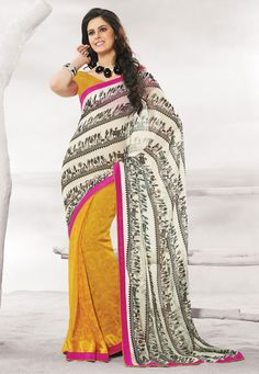 Off white-Yellow Color Satin Chiffon Designer Saree