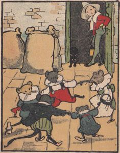 Ding Dong Dell nursery rhyme, Who put pussy in the well? the mouse dancing in the barn with black cat and boy watching - vintage clip art