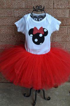 Black Polka Dot Minnie Mouse Tutu SetInfant on by SpoiledSweetkids