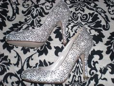Blinged out shoes! :  wedding clear diy dress e6000 inspiration ivory nude pumps rhinestones shoes white CIMG0945
