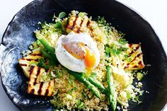 Haloumi is delicious grilled and tossed through the salad with fresh mint. COUSCOUS HALOUMI AND POACHED EGG SALAD