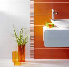 Green and orange bathroom