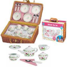 Basket-Children-Tea-Set-Porcelain-Deluxe-Ceramic-Play-Party-Fun-Picnic-Kit-Kids