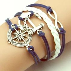 Anchor bracelet! Blue & white leather bracelet with infinity, anchor and compass! Adjustable for almost all wrist sizes!! Jewelry Bracelets
