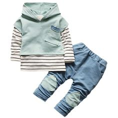 789e79937db08 Hooded set baby boys clothing set children hoodies pants striped winter  warm clothes boys girls sets autumn new arrival