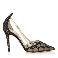 JIMMY CHOO 'Vee'  Chain Embroidered Lace And Leather Pointy Toe Pumps