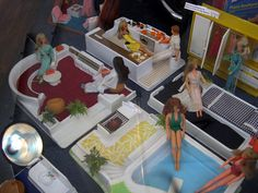 Furga Dollhouse from Italy, 1970's - Includes pool/patio, living room, kitchen and bedroom.