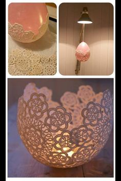 Glue lace doilies around a balloon, let it dry, then pop it to make a nice centerpiece for your table :)
