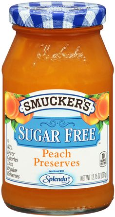 Sugar Free Peach Preserves with Splenda® Brand Sweetenerdelivers sweet peach flavor without the addition of sugar. Spread it onto waffles, or use it to make a flavorful sauce for grilled salmon, pork tenderloin, or smoked sausage. Cereal Recipes, Ww Recipes, Chicken Recipes, Sauce For Grilled Salmon, Smuckers Jam, Jam Sandwiches, Breakfast In America, Peach Preserves, Sweet Peach