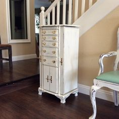 Jewelry Box White Shabby Chic Cottage Romantic Storage Organization