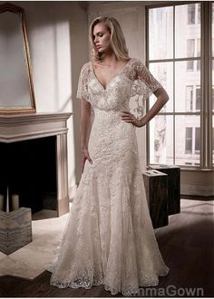 Wedding Dresses Simple, Exquisite Tulle V-neck Neckline Cape-sleeves Sheath/Column Wedding Dress With Lace Appliques & Beaded Embroidery, Shop discount wedding dresses and sales. Don't miss out, shop clearance wedding dresses before they're gone! 2nd Marriage Wedding Dress, 2nd Wedding Dresses, How To Dress For A Wedding, V Neck Wedding Dress, Luxury Wedding Dress, Event Dresses, Bridal Dresses, Tulle Wedding, Mermaid Wedding