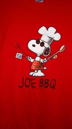 Peanuts Snoopy T-Shirt Joe BBQ Size Medium Red White Men's Grill Summer Picnic #Peanuts #TShirt