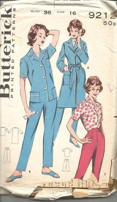 1960s Toreador Tapered Pants Hostess Pants Blouse or Tailored Pajamas and Robe Butterick 9212 Size 16 Bust 36 Women's Vintage Sewing Pattern by kinseysue on Etsy https://www.etsy.com/listing/239324700/1960s-toreador-tapered-pants-hostess
