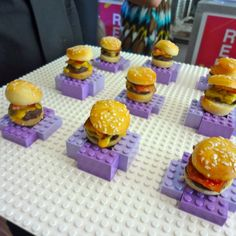 LEGOs as serving tray for mini sliders - cool for a kid's party