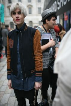 From London FW Fall 2012 --- varsity jacket, denim skirt, with that haircut! Oh yes please!!!
