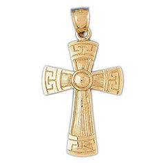 9f34487764bd 14K Yellow Gold Greek Cross Pendant - 42 mm afflink