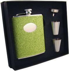 """Visol """"Lucky Lep"""" Green Glitter 6oz Flask Gift Set . $29.95"""