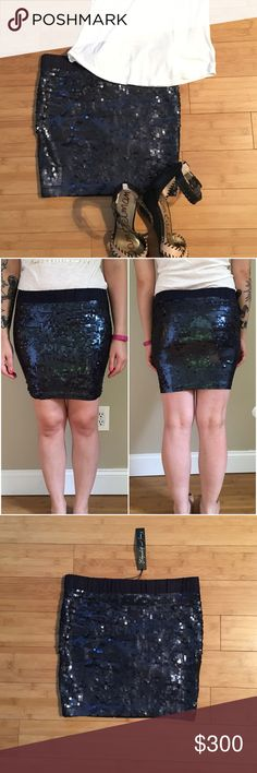 Elizabeth and James Sequin Mini Skirt This skirt is NWT! Completely sequined  in blue all 20868b488