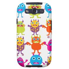 Colorful Funny Monster Party Creatures Bash Samsung Galaxy S3 Cases