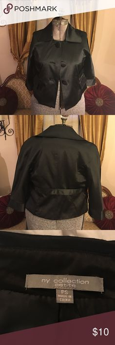 Black satin vintage inspired jacket Black satin dressy jacket with 3/4 sleeves. Has 3 large satin buttons and seen on belt band at waist. Very Audrey Hepburn like. Size petite small Jackets & Coats Blazers
