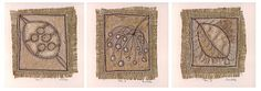 All three pieces inspired by a range of seed pods. Applique, hand embroidery and embellishments. Anne Brooke