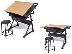 Office Computer Desk Tiltable Tabletop Drawing Table Stool Storage Drawers Study