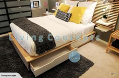 IKEA - MANDAL Double Bed with 4 storage drawers | Trade Me
