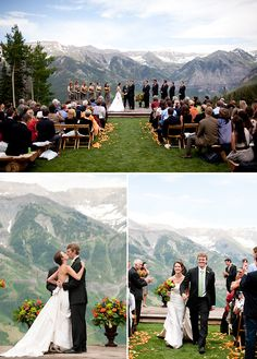 Fall Wedding with a View ❤️ love the 2 large urns with flowers at the altar for color & the fall leaves strewn down the aisle (instead of petals)
