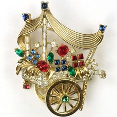 Trifari 'Alfred Philippe' Gold and Multicolour Stones Flower Sellers Flower Cart Pin