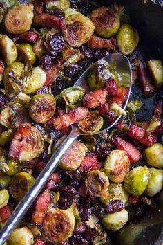 A recipe for oven roasted Brussels sprouts with bacon and dried cherries. Seriously addictive!! #RoastedBrusselsSprouts #BrusselsAndBacon Roasted Brussel Sprouts Bacon, Sprouts With Bacon, Brussels Sprouts, Roast Recipes, Bacon Recipes, Top Recipes, Coffee Recipes, Vegan Recipes, Vegetable Side Dishes