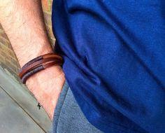 Men's leather cuff braceletbraided leather by PetalcraftArt
