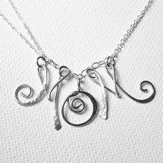 Mom Necklace Mom Initial Necklace Sterling by BelleAtelierJewelry, $62.00