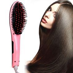 ACEVIVI Pink Digital Electric Hair Straightener Comb Heating Detangling Hair Brush EU/ US/ UK /AU Plug