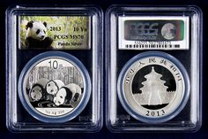 The silver panda series began in China in 1983. This .999 fine silver panda is released in several different denominations each year. Like the gold panda the design of the reverse changes each year. In 2013 the design featured three pandas drinking from a stream. This was the first year for a panda coin to depict three pandas. Graded perfect MS70 by PCGS this 1 ounce silver panda is must for every collector.