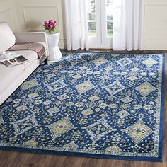 Safavieh Evoke Collection EVK224A Royal Blue and Ivory Area Rug 3 x 5 *** See this great product. (This is an Amazon Affiliate link)
