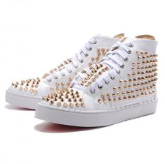 Cheap Christian Louboutin Shoes Mans Flat Leather Sneakers White ...