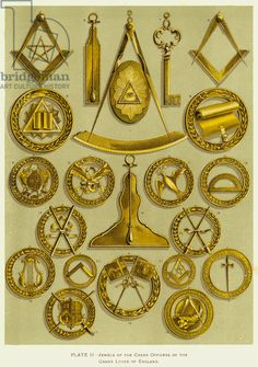 Jewels of the Grand Officers of the Grand Lodge of England (colour litho)
