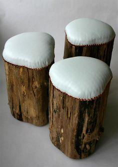 De stukken boomstam die naast de vijver liggen gebruiken als stoel