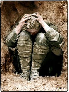 'Shell Shock'   How bad must it be to reduce a grown man to crying heap. The uselessness of war