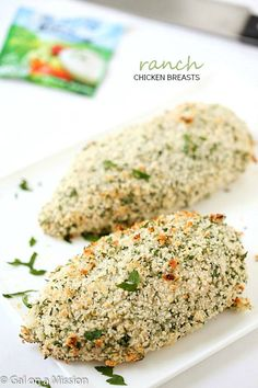 Juicy and tender ranch chicken breasts. Made with only four ingredients!