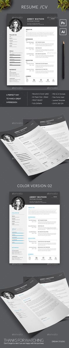 Resume by DreamStudio-eg Resume Template / CV Template with super clean and modern look. Clean Resume Template page designs are easy to use and customize,